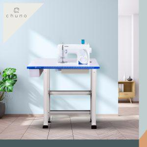 โต๊ะจักร โต๊ะวางจักร Brother GS2700, GS3700 แบบฝังหัว หน้าขาว ขอบน้ำเงินตรงรุ่น