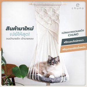 เปลแมว ที่นอนแมว แขวนผนัง Chuno ฟรีหมอนโดนัทแมวและอุปกรณ์ติดตั้งผนัง