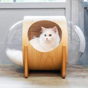 บ้านแคปซูลแมว หลุมแมวอวกาศแบบตั้งพื้น Chuno หลุมใส 2 ด้านพร้อมหมอนนุ่ม